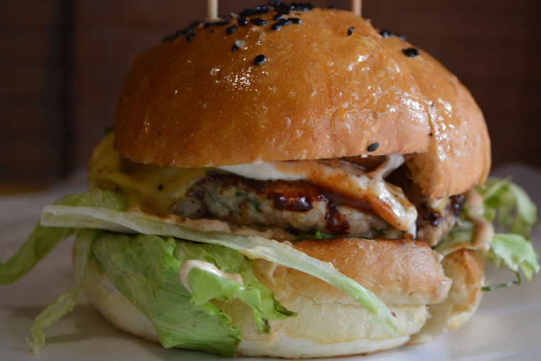 The cheese-stuffed herbed chicken burger. Also mind-blowing.